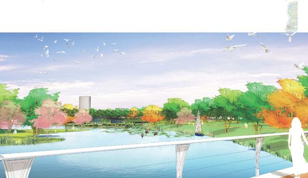 锡山湿地公园手绘效果1
